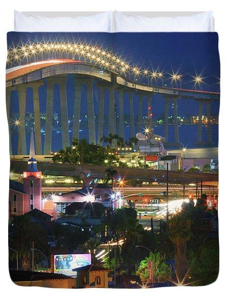 Coronado Bay Bridge Shines Brightly As An Iconic San Diego Landmark Duvet Cover