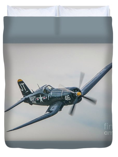 Duvet Cover featuring the photograph Corsair Approach by Tom Claud