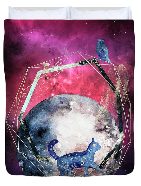 Duvet Cover featuring the digital art Cosmic Portal by Bee-Bee Deigner