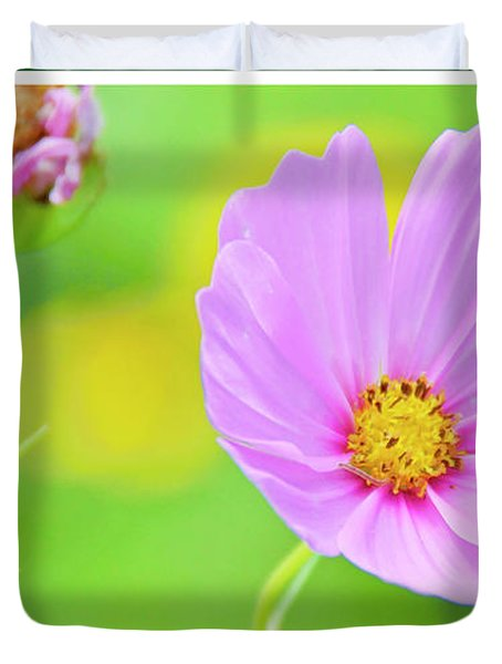 Cosmos Flower In Full Bloom, Bud Duvet Cover