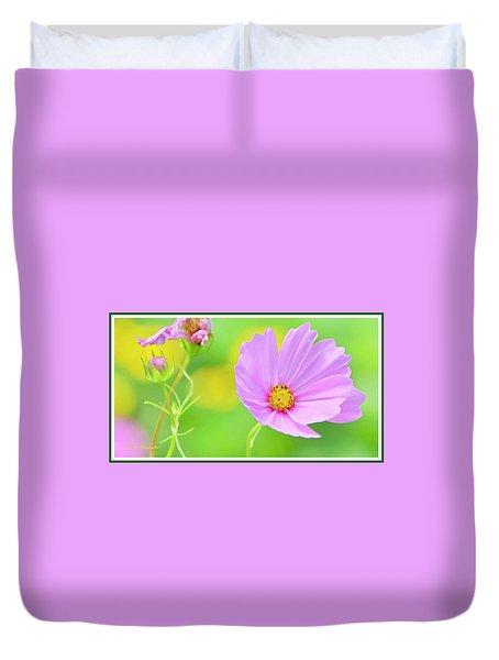 Cosmos Flower In Full Bloom, Bud Duvet Cover