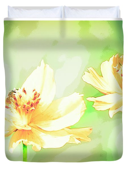 Cosmos Flowers, Bud, Butterfly, Digital Painting Duvet Cover