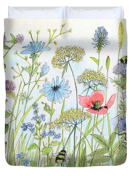 Cottage Flowers And Bees Duvet Cover