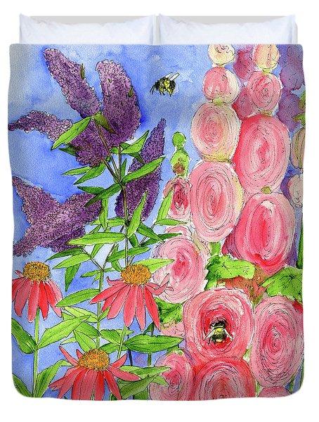 Cottage Garden Hollyhock Bees Blue Skie Duvet Cover