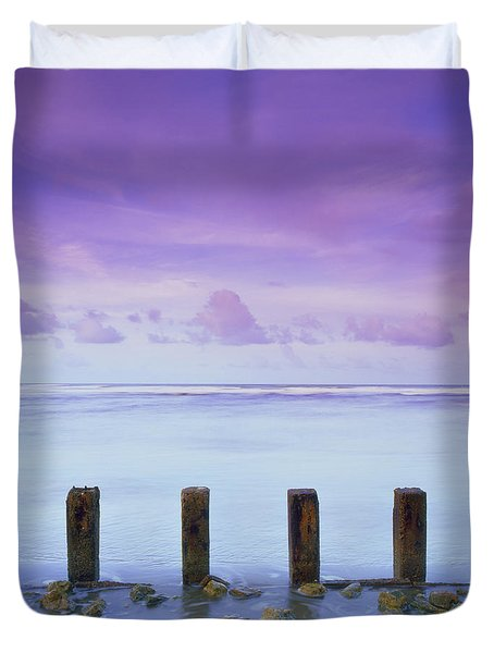 Cotton Candy Skies Over The Sea Duvet Cover