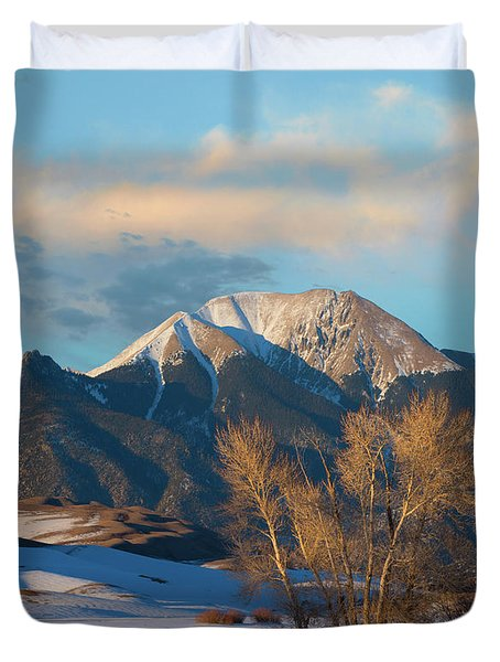 Cottonwoods In Winter, Mount Herard Duvet Cover