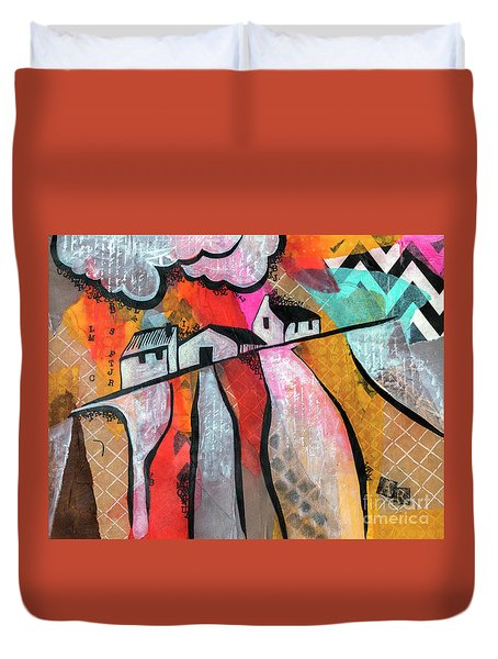 Duvet Cover featuring the mixed media Country Life by Ariadna De Raadt