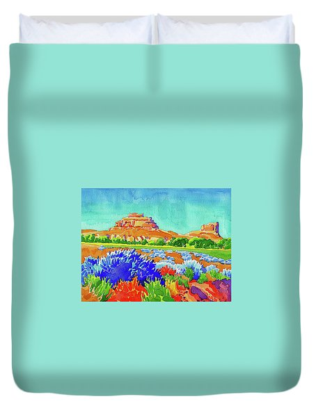 Duvet Cover featuring the painting Courthouse And Jail Watercolor by Dan Miller