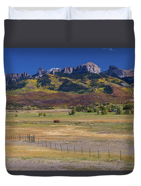 Duvet Cover featuring the photograph Courthouse Mountains And Chimney Rock Peak by James BO Insogna