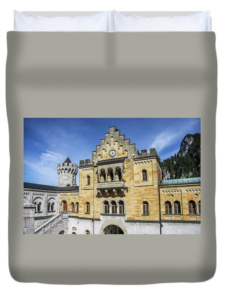 Duvet Cover featuring the photograph Courtyard, Neuschwanstein Castle by Dawn Richards