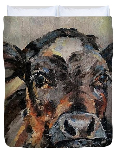 Cow In Oil Paint Duvet Cover
