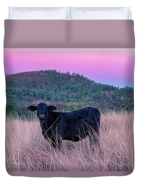 Cow Outside In The Paddock Duvet Cover