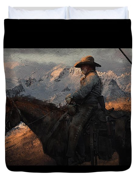 Cowboy American Painting Duvet Cover