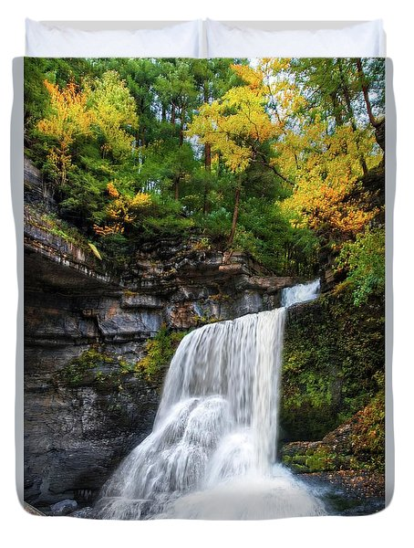 Duvet Cover featuring the photograph Cowshed Falls At Watkins Glen State Park - Finger Lakes, New York by Lynn Bauer