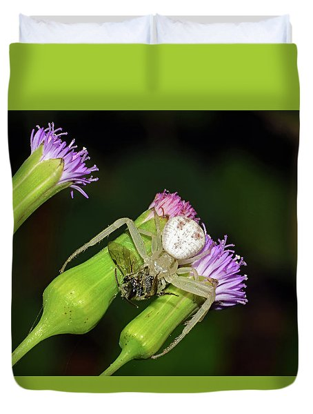 Crab Spider With Bee Duvet Cover