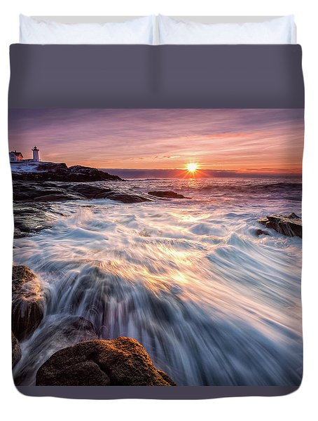 Crashing Waves At Sunrise, Nubble Light.  Duvet Cover
