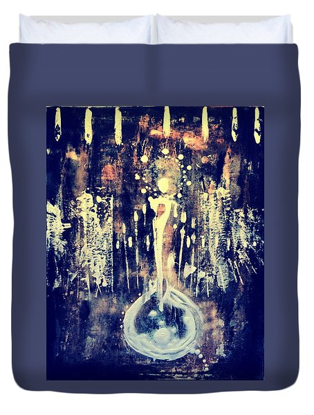 Duvet Cover featuring the painting Creatrix by 'REA' Gallery