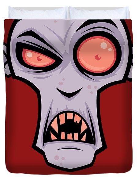 Creepy Vampire Cartoon With Suck It Text Duvet Cover
