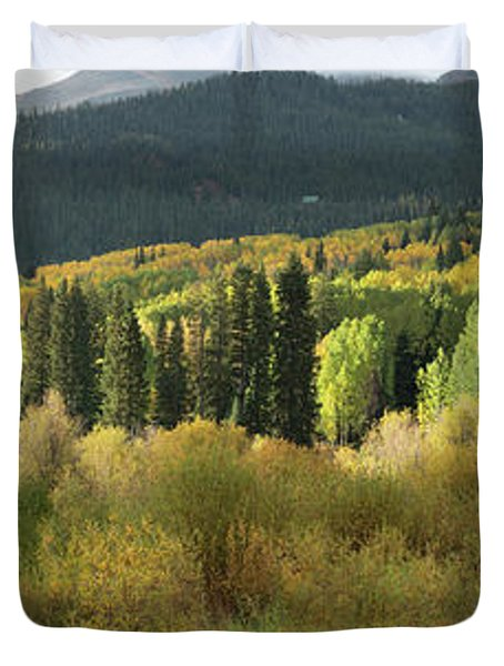 Duvet Cover featuring the photograph Crested Butte Colorado Fall Colors Panorama - 1 by OLena Art Brand