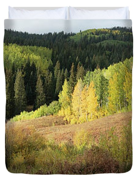 Duvet Cover featuring the photograph Crested Butte Colorado Fall Colors Panorama - 2 by OLena Art Brand