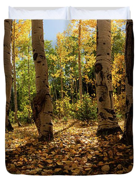 Duvet Cover featuring the photograph Crested Butte Colorado Fall Colors Panorama - 3 by OLena Art Brand
