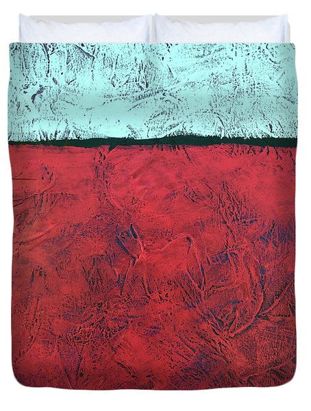 Crimson Earth Meets Pearl Sky Duvet Cover