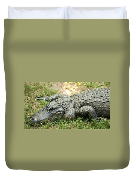 Duvet Cover featuring the photograph Crocodile Outside by Rob D