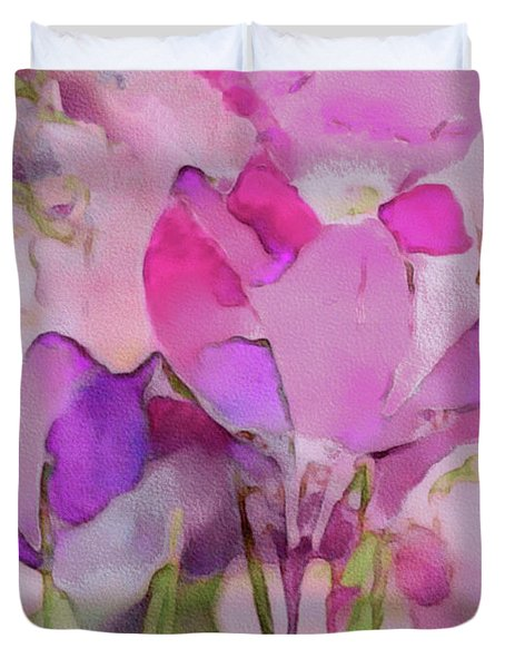 Duvet Cover featuring the mixed media Crocus So Pink by Susan Maxwell Schmidt