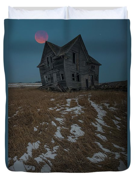 Duvet Cover featuring the photograph Crooked Moon by Aaron J Groen