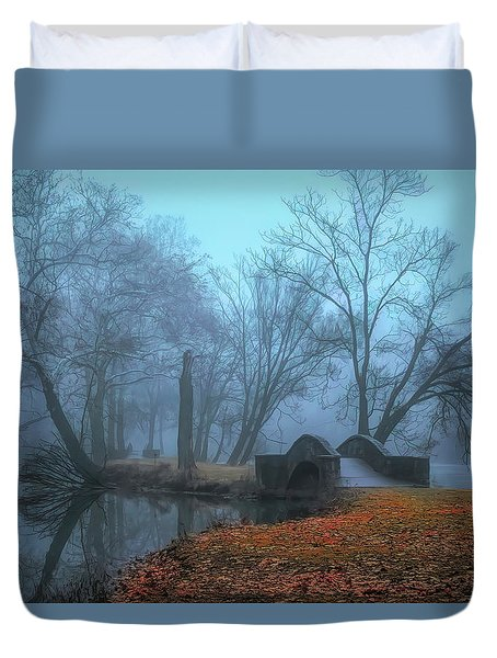 Crossing Into Winter Duvet Cover