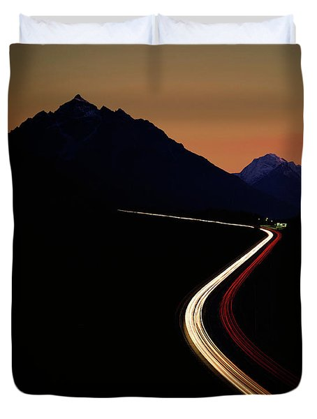 Duvet Cover featuring the photograph Crossing The Alps by Edmund Nagele