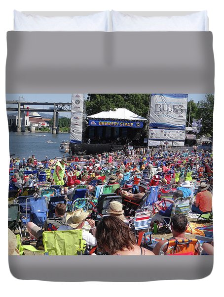 Crowd Enjoys Listening On A Sunny Day  Duvet Cover