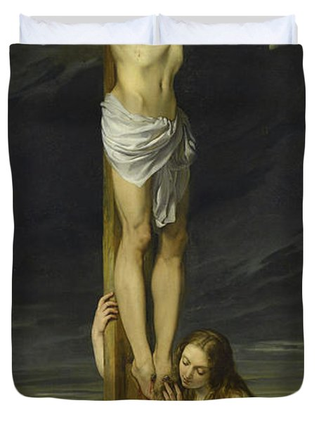 Crucifixion With Mary Magdalene Kneeling And Weeping Duvet Cover