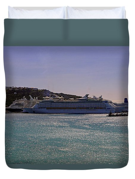 Duvet Cover featuring the photograph Cruise Ships by Tony Murtagh