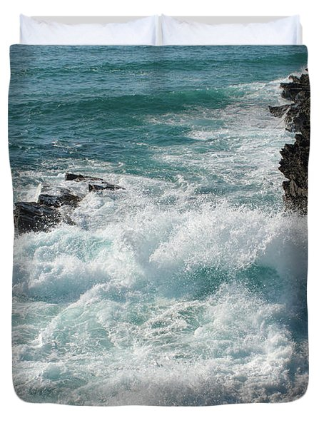 Crushing Waves In Porto Covo Duvet Cover