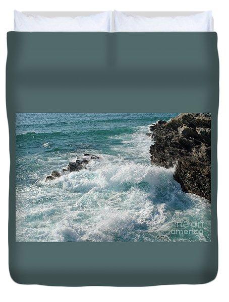 Crushing Waves In Porto Covo Duvet Cover