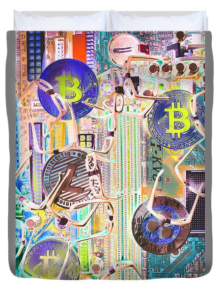 Cryptocurrency Circuitry Duvet Cover