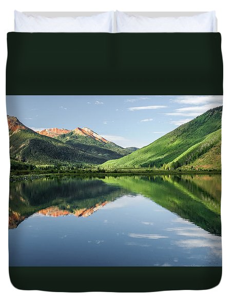 Crystal Lake Red Mountain Reflection Duvet Cover