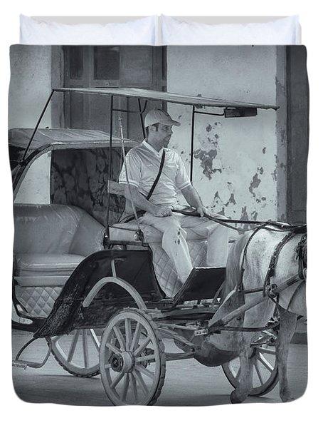Cuban Horse Taxi Duvet Cover