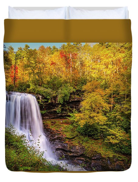 Duvet Cover featuring the photograph Cullasaja Falls In Full Bloom by Andy Crawford