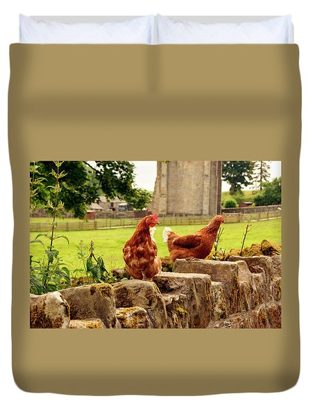 Cumbria,  Shap Abbey, Two Chickens. Duvet Cover