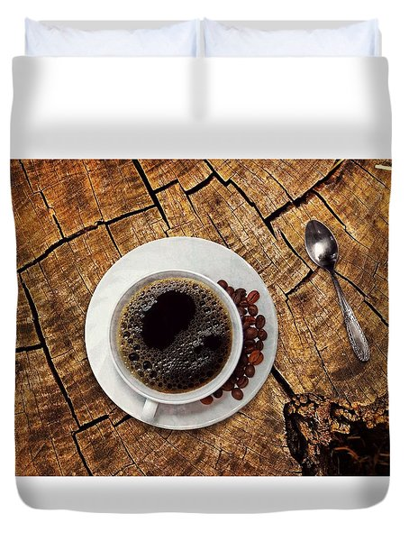 Cup Of Coffe On Wood Duvet Cover