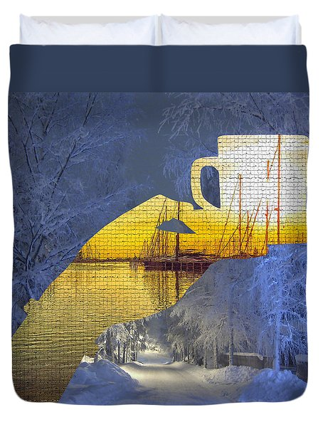 Cup Of Tea In The Winter Evening Duvet Cover