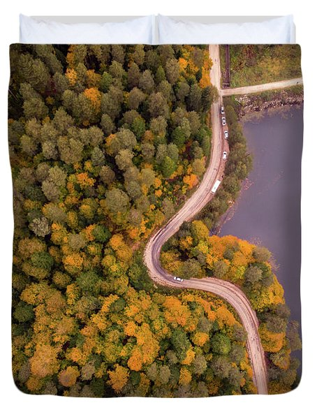 Curved Road At Lakeside Duvet Cover
