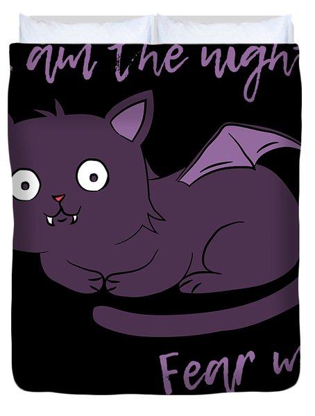 Cute Halloween Cat I Am The Night Fear Me Duvet Cover