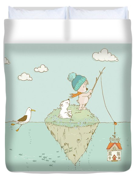 Duvet Cover featuring the painting Cute Little Bear Goes Fishing by Matthias Hauser