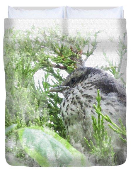 Cute Little Bird On Tree Duvet Cover