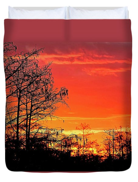 Cypress Swamp Sunset 2 Duvet Cover