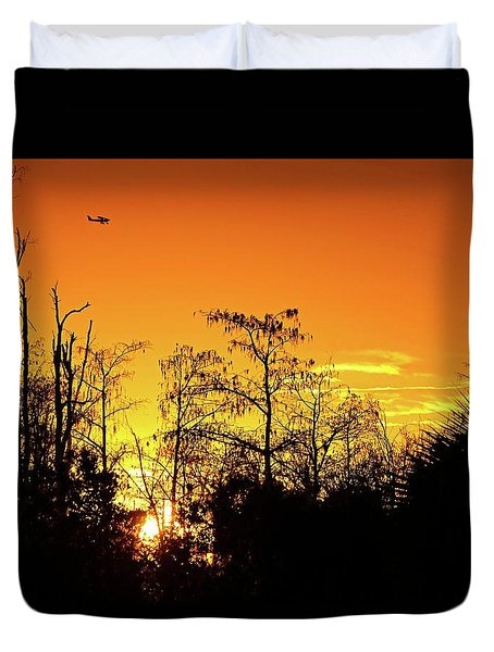 Cypress Swamp Sunset 3 Duvet Cover