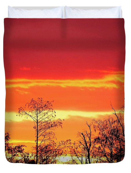 Cypress Swamp Sunset 5 Duvet Cover